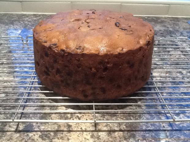 Cooled fruit cake ready for wrapping and storing