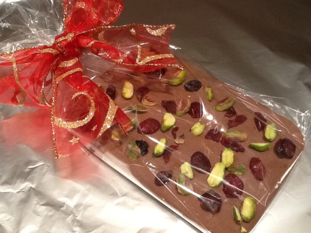 Gift wrapped Festive Chocolate Bark