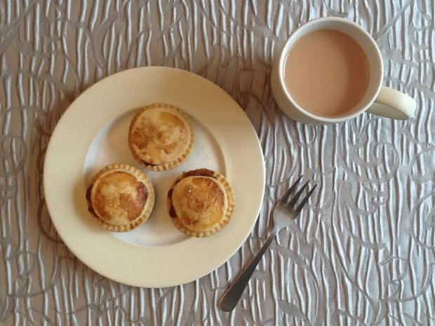 A Christmas treat of mince pies and a mug of tea