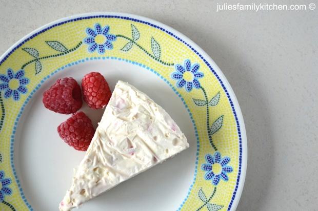 Raspberry and white chocolate ice cream cake