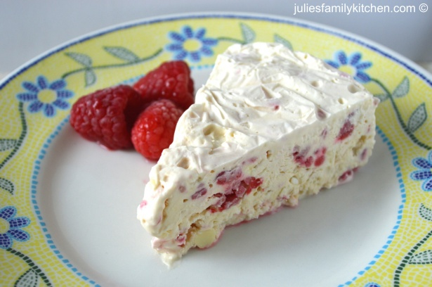 Raspberry and white chocolate ice cream cake