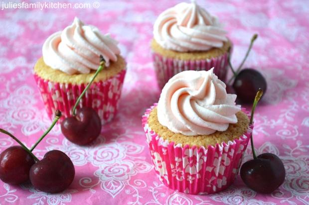 Cherry Bakewell buttercream cupcakes