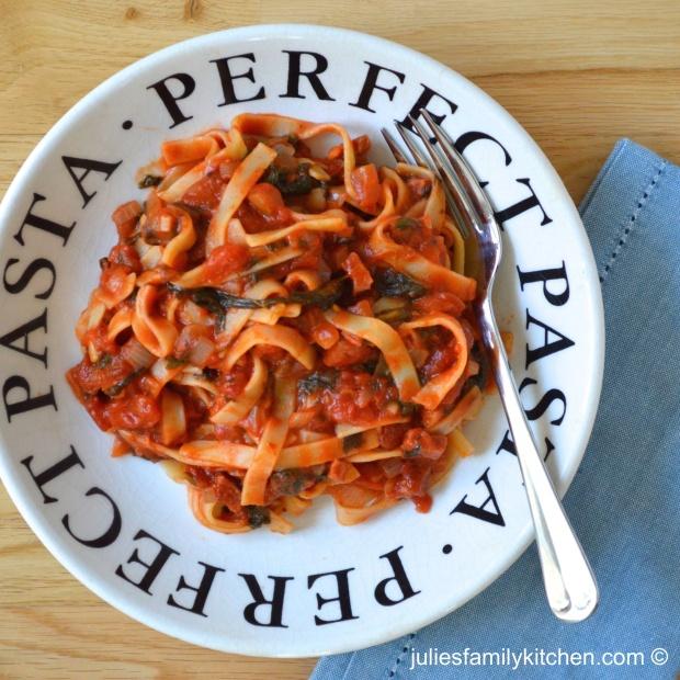 Chorizo and spinach tagliatelle