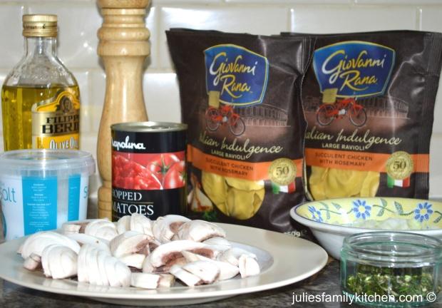 Chicken and rosemary ravioli