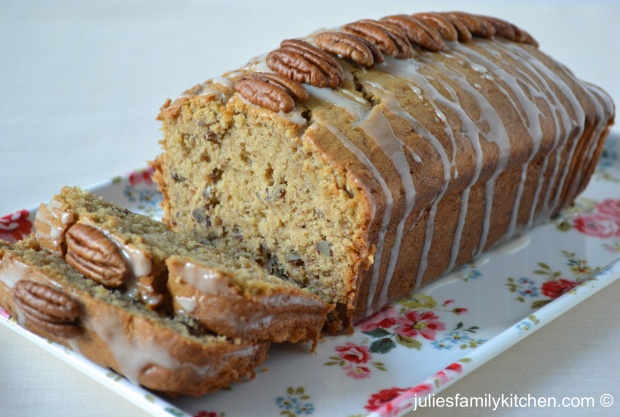 Banana cake with honey icing