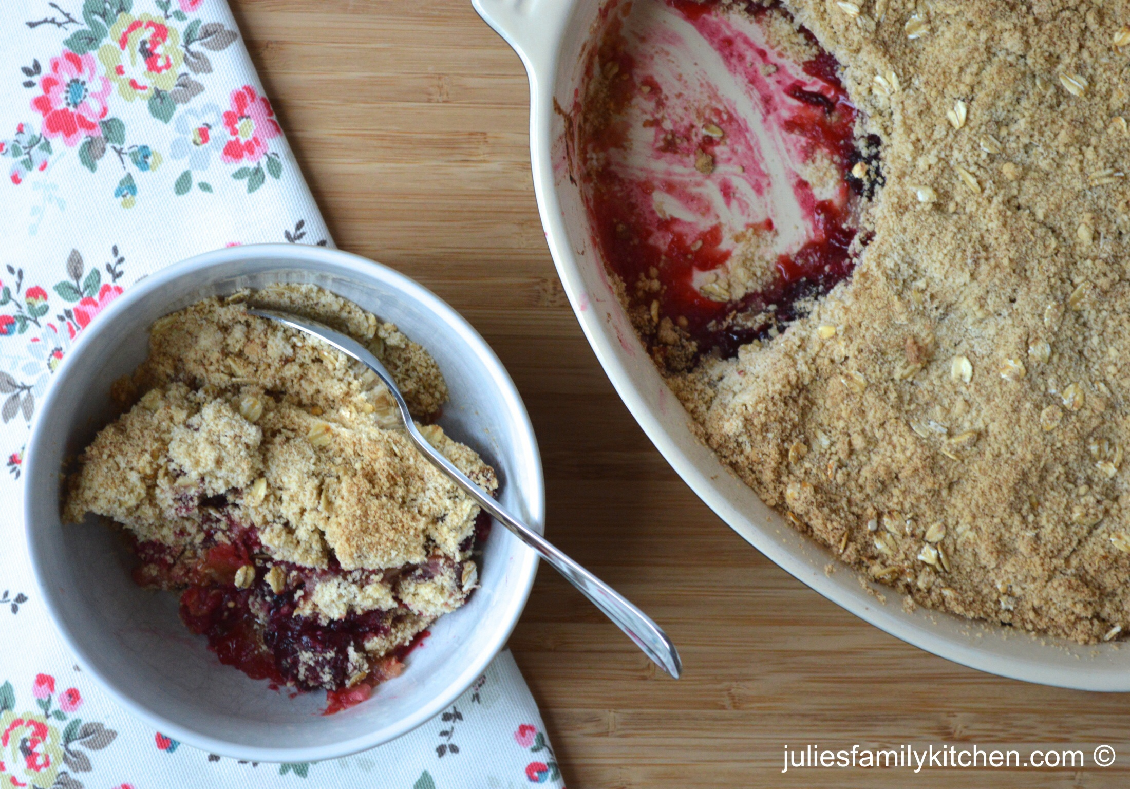 Apple and Blackberry Crumble - Julie's Family Kitchen