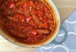 Chorizo style sausage and bean casserole