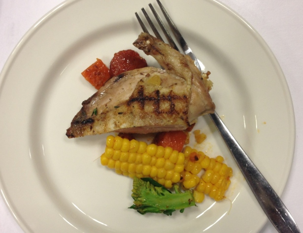 Grilled Partridge with Sweetcorn, Preserved Lemon and Chorizo