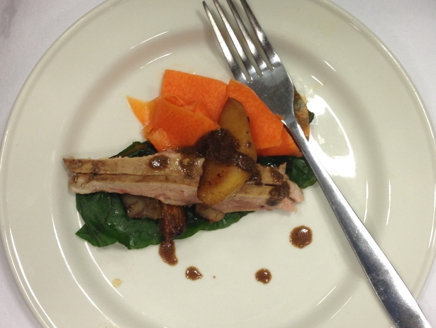 Poached Pheasant with Apple, Chestnuts and Pickled Pumpkin