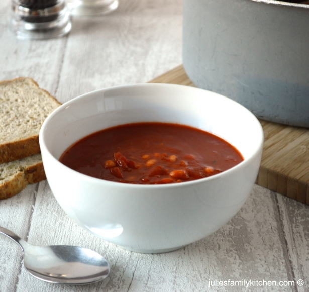 Julie's Family Kitchen Tomato, Bean and Chorizo Soup