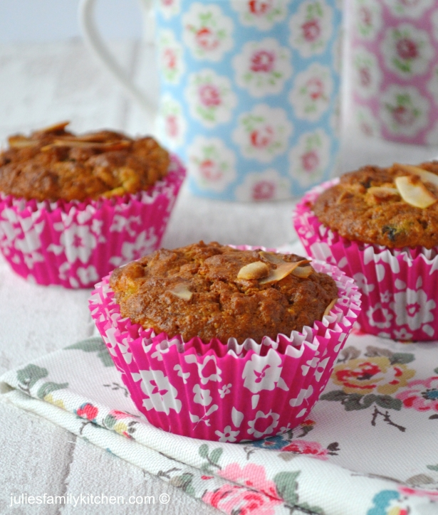 Julie's Family Kitchen Healthier Tropical Fruit Muffins