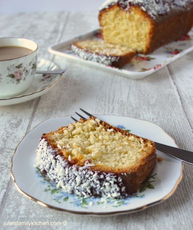 Coconut and Raspberry Jam Loaf Cake Julie's Family Kitchen