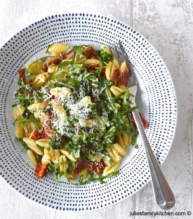 Gnocchetti Sardi with Parma Ham, Rocket and Tomatoes