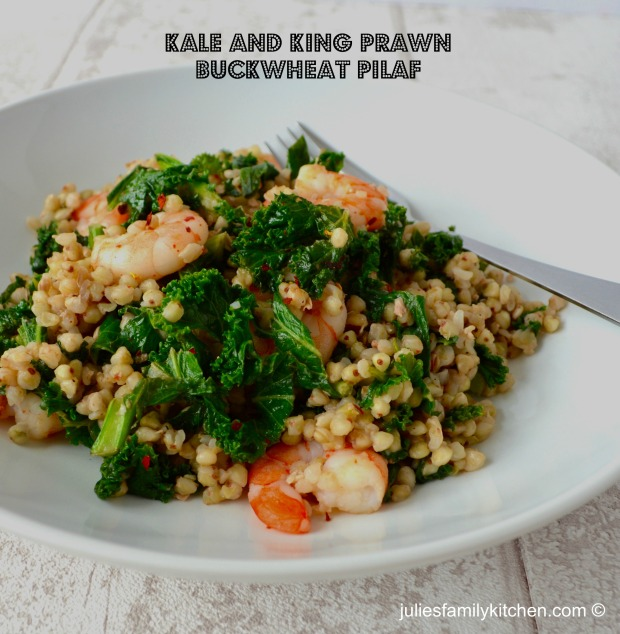 Kale and Prawn Buckwheat Pilaf